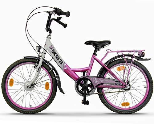 XB3 20 Zoll Kinderfahrrad 3 Gang Shimano Nabendynamo Nabenschaltung Rücktrittbremse LED-Licht StVZO (weiß/pink)