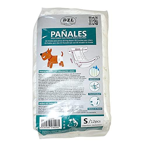 SMELL & SMILE Pañales Desechables para Perro Pañales para Perros Hembra Pañal Sanitarios para Perro Mascotas Bragas Higiénicas Suaves absorbentes (S)