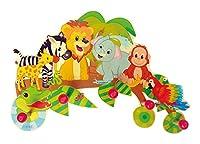 Liebevoll gestaltete Wandgarderobe mit 5 Kleiderhaken, im kindgerechten Design mit farbenfrohen Tiermotiven aus dem Dschungel, Größe ca. 37 x 26 x 6,5 cm Die stabilen Haken haben die Form von großen roten Kugeln, so dass Jacken, Schals, Mützen und Ru...