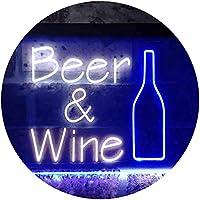 Beer Wine Bottom Bar Club Garage Dual Color LED看板 ネオンプレート サイン 標識 白色 + 青色 600 x 400mm st6s64-i3391-wb