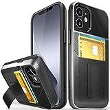 Vena Legacy Funda Cartera Compatible con Apple iPhone 12 Mini (5.4'-Inch), (CornerGuard Protection, 2 Ranuras para Tarjetas) Carcasa de Cuero Case con Función de Soporte - Negro
