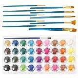 Tomaibaby Pintura Óleo de Acuarela Paleta de Pigmentos de 36 Colores con Pincel Pigmento de Pintura Corporal para Fiesta Carnaval Fantasía Maquillaje