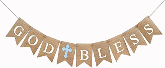 iMagitek God Bless Baptism Burlap Banners for Boy First Holy Communion, Blue Burlap Banners Garland Bunting Flags for Wedding Baby Shower Birthday Christening Baptism Party Decorations