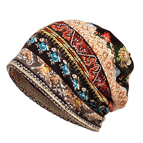 Boboder Sombrero de la quimica del sombrero de la raya del sombrero de las mujeres Sombrero de la cabeza del pañuelo del turbante suave de algodón