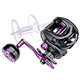 Baitcasting Reels Larger Fishing Line Capacity 11+1BB 7.0:1 Gear Ratio Extended Handle Knob 8KG Carbon Fiber Drag Fishing Reels (Color : Purple, Use Mode : Right Hand)