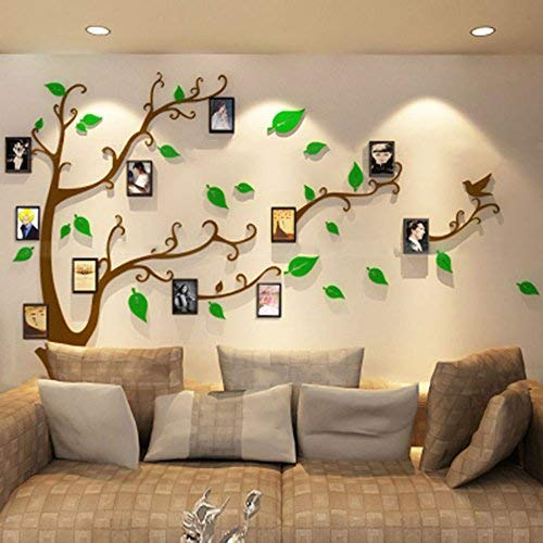 Alicemall Wandtattoo Wandaufkleber Wanddeko Acryl Chic Design 3D Wand Sticker mit Bilderrahmen (L Braun Grün)