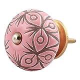 IndianShelf - Pomos de cerámica hechos a mano para aparador de cajones y armarios de cocina (3,81 cm, rosa, 2 piezas)