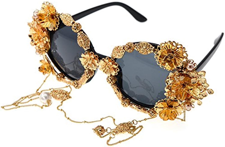 LIDESMUKG High Class Luxury Vintage Handmade Metal gold Butterfly Flower Polarized Baroque Sunglasses for Women Pearl Eyewear Retro Style Tassel Chain Sunglass