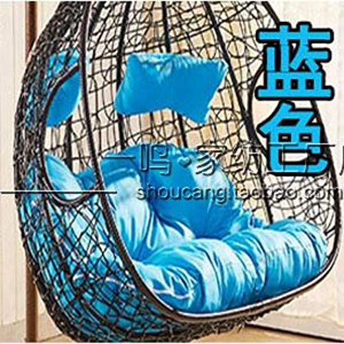 MSM Furniture Double Swing Cushion, Thicken Cradle Wicker chair Comfort Chair pad Washable, Not include a hanging chair-blue 145x108cm