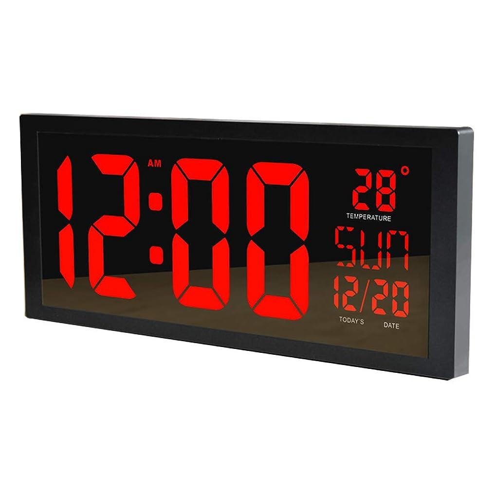 偽善者夫婦意義家庭用製品Relaxbx大型Led壁時計スマートデジタル温度計付きカレンダーアラームカウントダウンタイマーホームオフィスジム用モールミュートモール病院地下鉄赤
