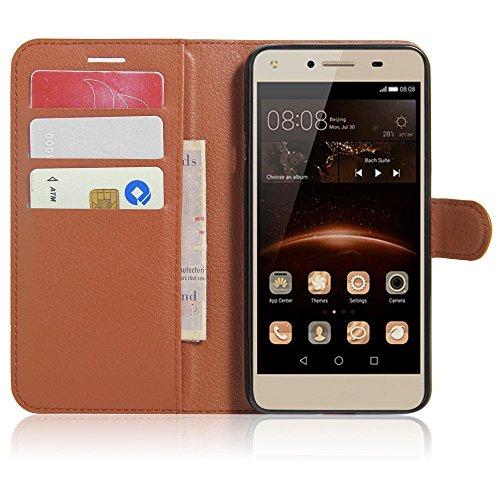 SMTR Huawei Y5II / Huawei Y5 2 Wallet Tasche Hülle - Ledertasche im Bookstyle in Braun - [Ultra Slim][Card Slot][Handyhülle] Flip Wallet Hülle Etui für Huawei Y5II / Huawei Y5 2