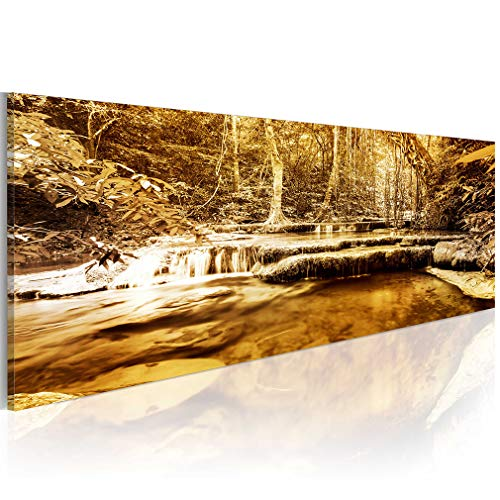 decomonkey Bilder Wasserfall 120x40 cm 1 Teilig Leinwandbilder Bild auf Leinwand Vlies Wandbild Kunstdruck Wanddeko Wand Wohnzimmer Wanddekoration Deko Wald Natur Landschaft