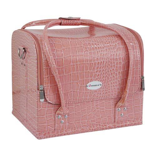 Nagel koffer, zacht CROCO ROZE. Praktische koffer voor nagelstyliste, pedicure, schoonheidsspecialistes, kappers, kapsters, visagiste, etc, die ruimte biedt om materialen overzichtelijk op te bergen.