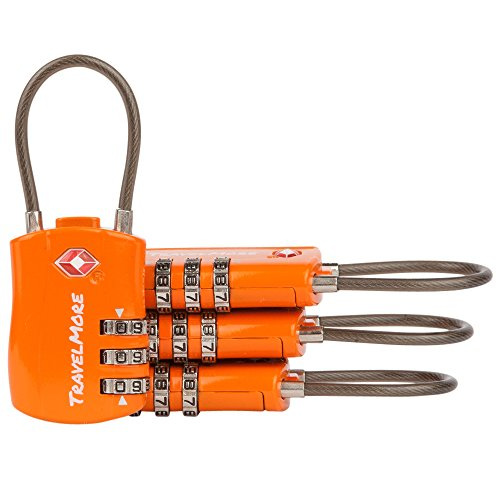 4 Pack TSA Approved Travel Combination Cable Luggage Locks for Suitcases & Backpacks – Orange