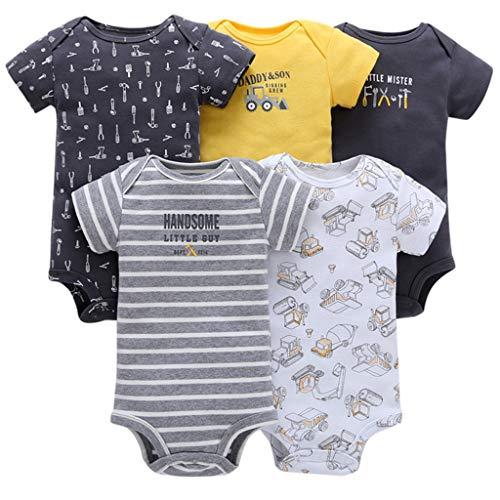 JiAmy Body Bébé Garçons Lot de 5 Barboteuse Vêtements à Manches Courtes Pyjama Coton Coton D'été Combinaison Voiture 18-24 Mois
