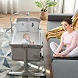 BABY JOY Baby Bedside Crib, Height Adjustable Portable Bassinet w/Music, Toy Rack, Mattress, Straps, Breathable Mesh & Carrying Bag, Easy Folding Kids Bed Side Sleeper for Newborn Infant (Light Grey)