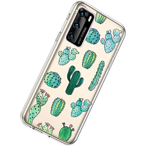 Herbests Kompatibel mit Huawei P40 Hülle Silikon Weich TPU Handyhülle Durchsichtige Schutzhülle Niedlich Muster Transparent Ultradünn Kristall Klar Handyhülle,Kaktus