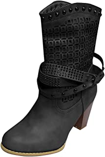 Women High Heel Ankle Boots Casual Faux Leather Block Heel Cowboy Biker Boot Shoes with Rivets Buckle Round Toe