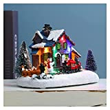 GDYJP Navidad Iluminación Estatua Decoración Resina Invierno Casa Nevado Paisaje Luminoso Hut Ornamento Regalo de Año Nuevo for Holiday Kid Hot