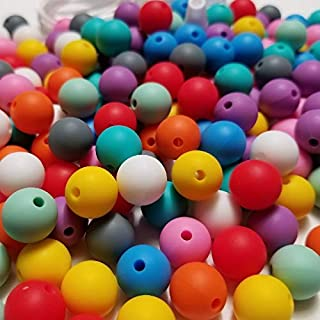 100pc 12mm Silicone Beads for Making Necklaces, Teethers, Bracelets and Chew Bead Jewelry, Includes Nylon Rope and Clasp, Perfect for Nursing, Sensory & Crafting