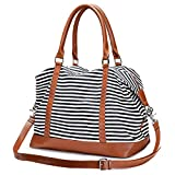 Best Carry On Shoulder Bags - S-ZONE Women Canvas Weekender Bag Carryon Shoulder Tote Review