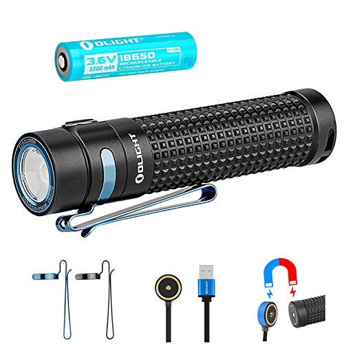 OLIGHT オーライト S2R BATON II ブラック 小型軽量LED充電式フラッシュライト Luminus SST-40 LED搭載 懐中電灯 最大1150ルーメン 5段階切替 3200mAh 18650充電バッテリー×1本/マグネット式USB充電ケーブ ル/バッテリーケース付き
