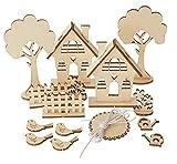 Holzbausatz Holz Steckmtiv'Gartenhäuser' 29 Teile Vogel Häuschen Basteln malen DIY