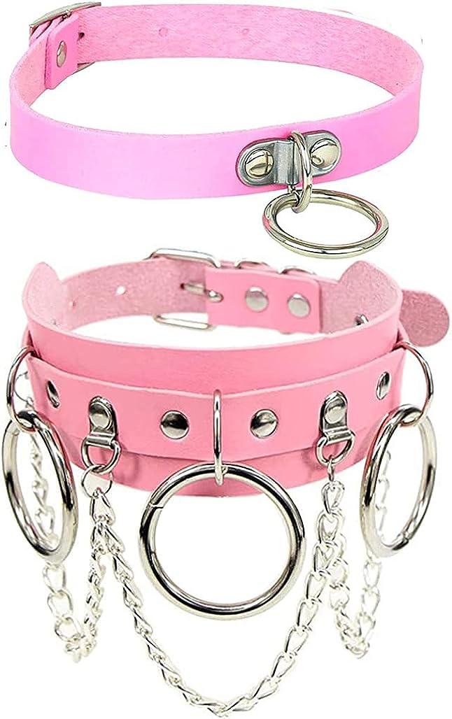 Xjoyous Circle Choker Necklace PU Leather, Adjustable Leather Rock Punk Choker Collar Necklace for Girls Women