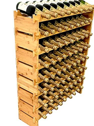 DECOMIL - 72 Bottle Stackable Modular Wine Rack Wine Storage Rack Solid Bamboo Wine Holder Display Shelves, Wobble-Free (Eight-Tier, 72 Bottle Capacity)