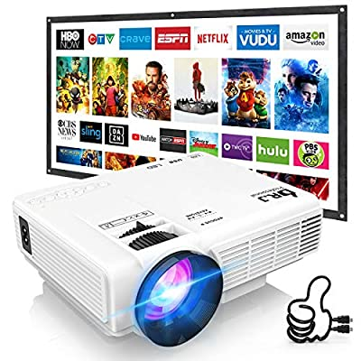 DR. J Professional HI-04 Mini Projector Outdoor Movie Projector with 100Inch Projector Screen, 1080P Supported Compatible with TV Stick, Video Games, HDMI,USB,TF,VGA,AUX,AV [Latest Upgrade] from DR. J Professional