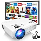 """DR. J Professional HI-04 Mini Video Projector, 100"""" Projector Screen Included &1080P Supported, Portable Outdoor Movie Projector"""