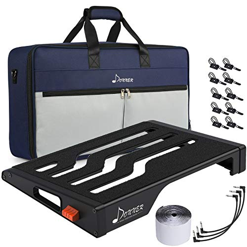 """Donner Guitar Effects Pedal Board, DB-S200 Large Power Supply Pedalboard Set with Convertible Bag Backpack, 60"""" Adhesive Backed Hook-and-Loop and Power Supply Mounting Device,18.11"""" x 12.76"""""""