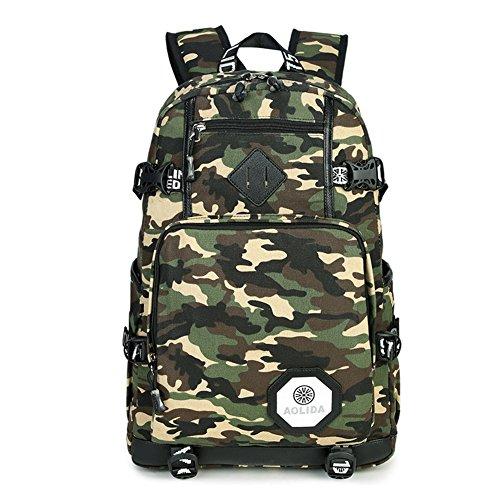 Bcony Polyester Oxford Stoff Tarnung Camouflage Daypacks Schultaschen Rucksäcke Schulrucksäcke Mehrfach Taschen Draussen Sport Reise Kinderbuch Schulranzen Taschen für Teenager Mädchen und Jungen