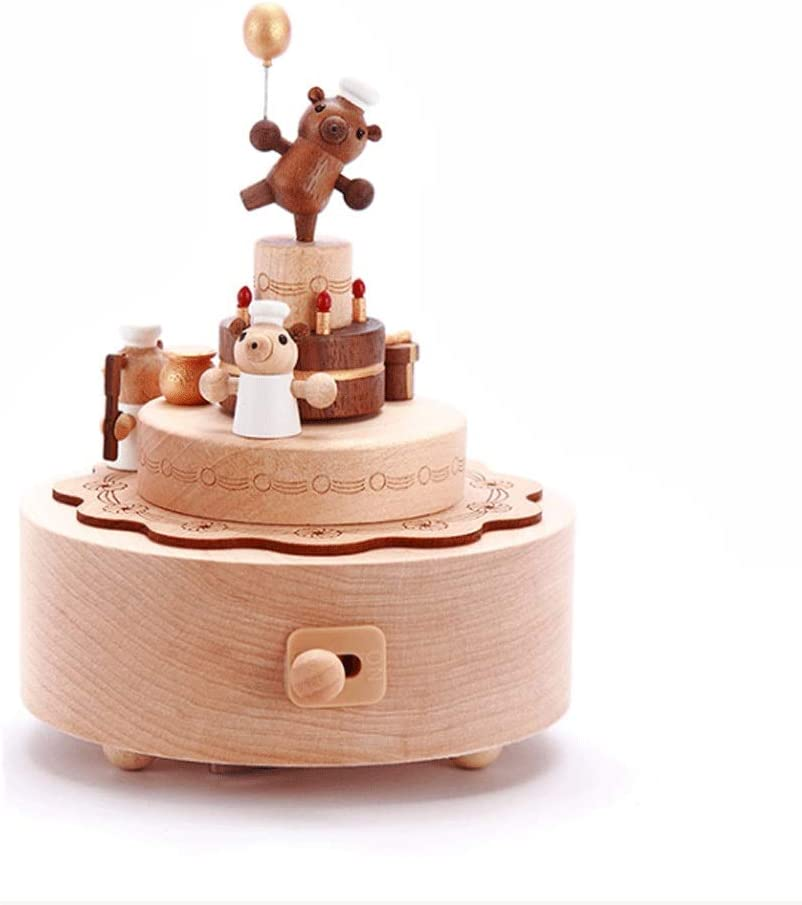 Zxb-shop Vintage Musical Box Wooden Musi Bear Rotating Music Max 89% OFF famous