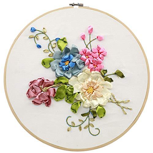 Outgeek Embroidery Starter Kit Creative DIY Flower Silk Ribbon Embroidery Kit Cross Stitch Beginner Kit