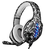 Chunlan - Auriculares de diadema para gaming con micrófono flexible con LED para Xbox One PC, color gris