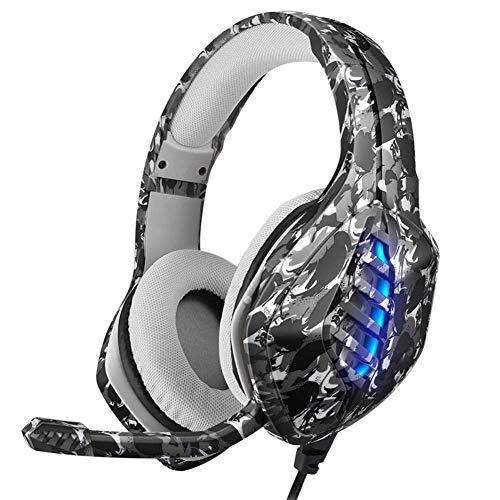 WZLJW - Auriculares de diadema con micrófono flexible de 3,5 mm, interruptor con luz LED para PS4 Xbox One PC, camuflaje gris