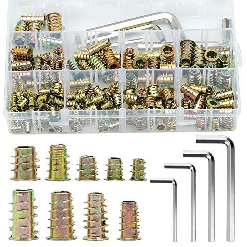 ZITFRI 159 Teiliges Einschraubmuffen M4 M5 M6 M8 Gewindeeinsatz Holzeinsatz Muttern Hex Antrieb Nuss Innensechskantmuttern für Holz Möbel - Zinklegierung Rampamuffe Sortiment mit Inbusschlüssel