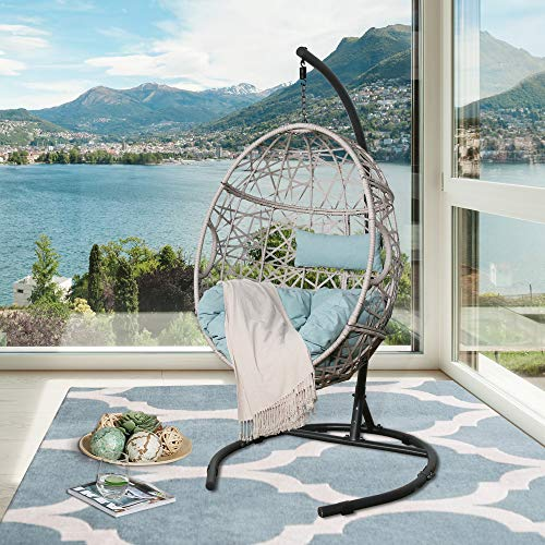 Peak Home Furnishings Patio Wicker Hanging Basket Swing Chair Indoor Outdoor Teardrop Chair Hammock Egg Chair with Stand and Cushion (Blue)
