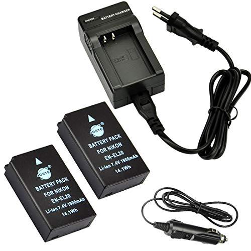 DSTE 2-Pieza Repuesto Bater¨ªa y DC125E Viaje Cargador kit para Nikon EN-EL20?CoolPix A...