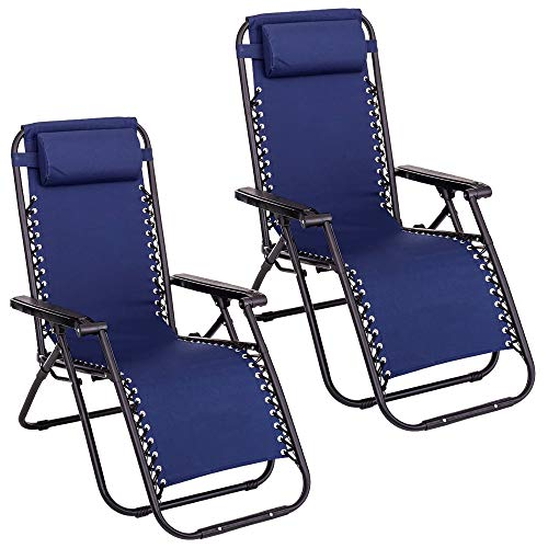 Pack de 2 sillas Gravedad Cero reclinables con Bloqueo de Seguridad de Tejido Oxford y Acero de 95x65x106 cm (Azul)