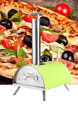 Pellet-Pizzaofen DaDa - Mobiler Outdoor Backofen Mit Pizzastein Für Pizza & Flammkuchen - Bis 500 Grad - Grün