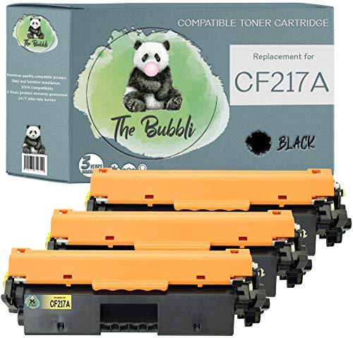 The Bubbli Original | CF217A 17A Tóner Compatible para HP Laserjet Pro M102w MFP M130nw M102a MFP M130fn MFP M130a MFP M130fw (3 Negro)