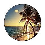 Non Slip Carpet Palm Tree on The Tropical Beach Sunrise Shot 278346857 for Bedroom Floor Sofa Diameter 54 in(137cm)