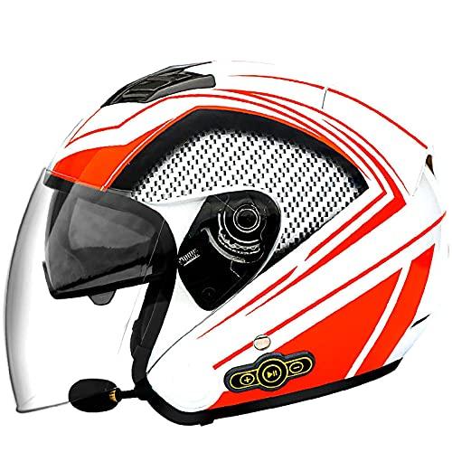NZGMA Caschi da Moto Bluetooth, Casco da Moto aperto per Adulto Casco da Mezzo Casco apribile a 3/4 visiera parasole, per Scooter ciclomotore da Strada Cruiser Chopper Mofa, certificazione Dot /