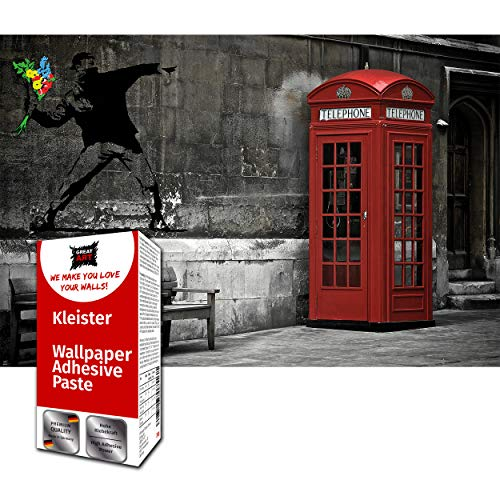 GREAT ART Decoración de pared Banksy Street Art - Love Red Telephone Modern Graffiti 210 x 140 cm - Papel Tapiz 5 piezas...