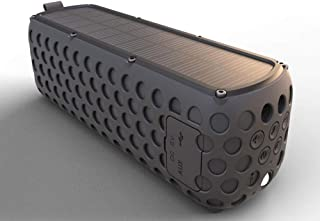 Portable IPX5 Waterproof Solar Bluetooth Speaker with LED Light and Built-in Mic Compatible for iPhone Smart Devices (Color : Black)