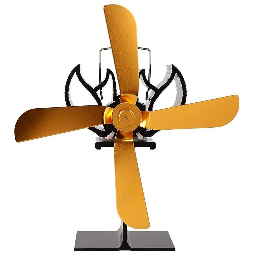 うなる宇宙公然とストーブファン、4つのゴールドブレード環境に優しい暖炉熱ファン熱動力ストーブファン小さな暖炉ファン