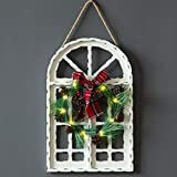 Sunnygalde Indoor and Outdoor Wood Christmas Holiday Wall Hanging Door Decorations Wood Plaqu Signs Christmas Ornament, for Home, School, Office Including Wreath, Wooden Arch and Led Lights (White)