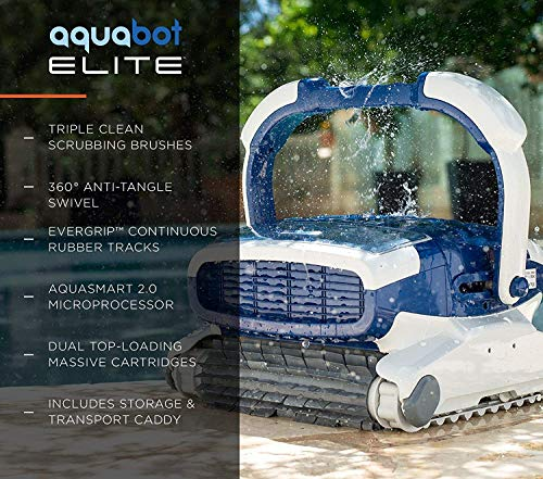 Aquabot Elite Robotic Pool Cleaner for Gunite, Concrete, Pebble Pools with Anti-Tangle Swivel, Massive Dual Cartridge Filters, 3 Yr Warranty